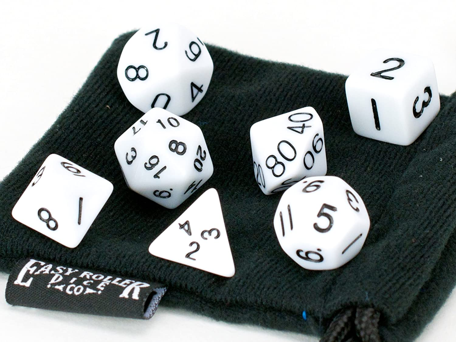 FREE Carrying Bag solid PRISTINE Edition Hand Checked Quality Easy Roller Dice Co Polyhedral Dice Set 7 Piece White Opaque