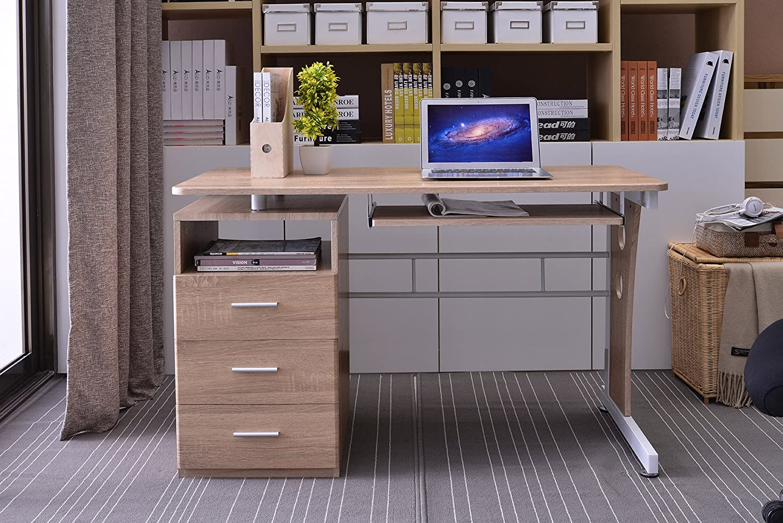 Scrivania Ufficio Ovvio : Sixbros. office scrivania porta pc tavolo ufficio colore rovere