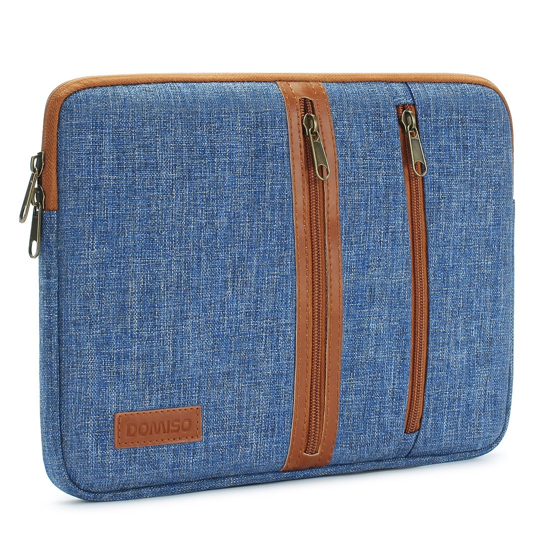 DOMISO 10 Inch Laptop Sleeve Canvas Notebook with Zipper Tablet Pouch Cover 3 Layer Protection Bag 2 Pockets Case for 12'' MacBook 3 / 10.8'' Microsoft Surface 3, Blue