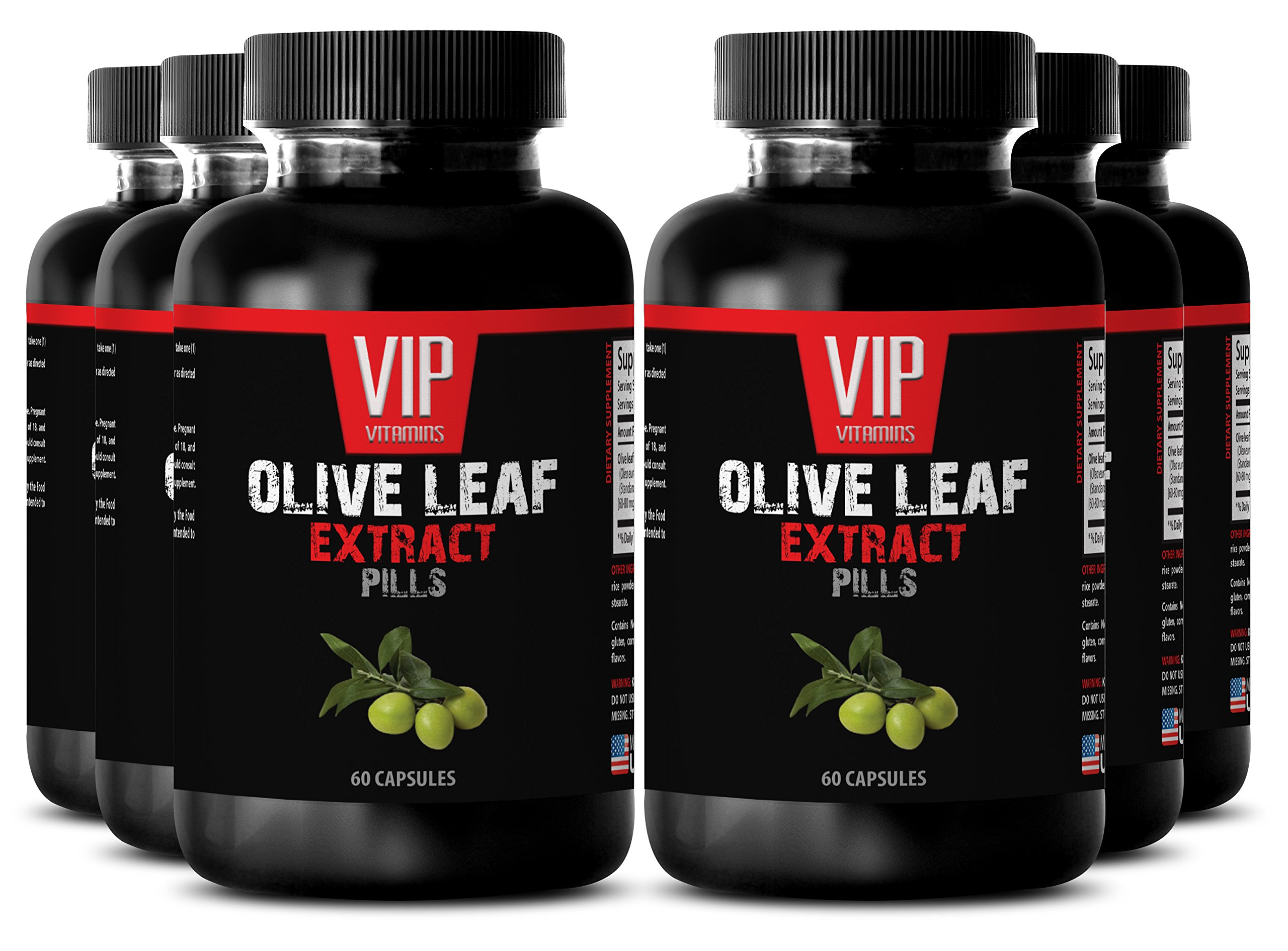 Blood pressure herbs - OLIVE LEAF EXTRACT - Blood sugar support - 6 Bottles 360 Capsules