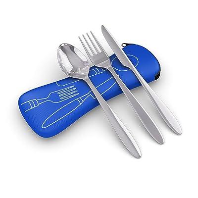 3pièces en acier inoxydable (Couteau, fourchette, cuillère) léger, Voyage/Camping Set de couverts avec étui en néoprène bleu (Bleu)