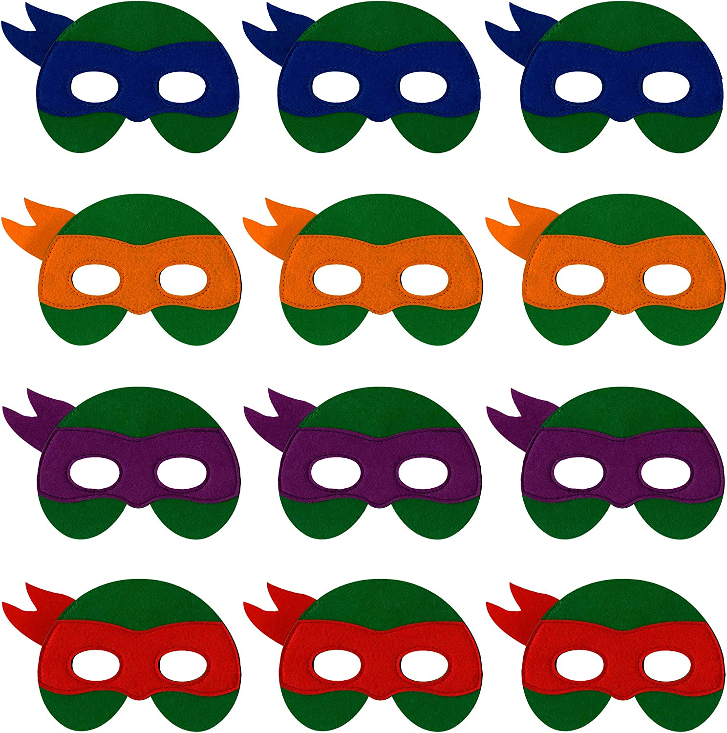 Little Seahorse Ninja Turtle Masks for Kids - 12 Felt Toy Masks, Best Birthday Party Ninja Turtles Supplies Favors for Goodie Bag, Gifts, etc