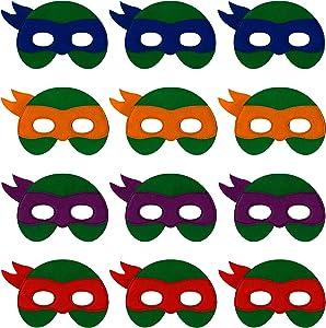 Little Seahorse Ninja Turtle Masks for Kids - 12 Felt Toy Masks, Best Birthday Party Ninja Turtles Supplies Favors for Goodie Bag, Gifts, etc