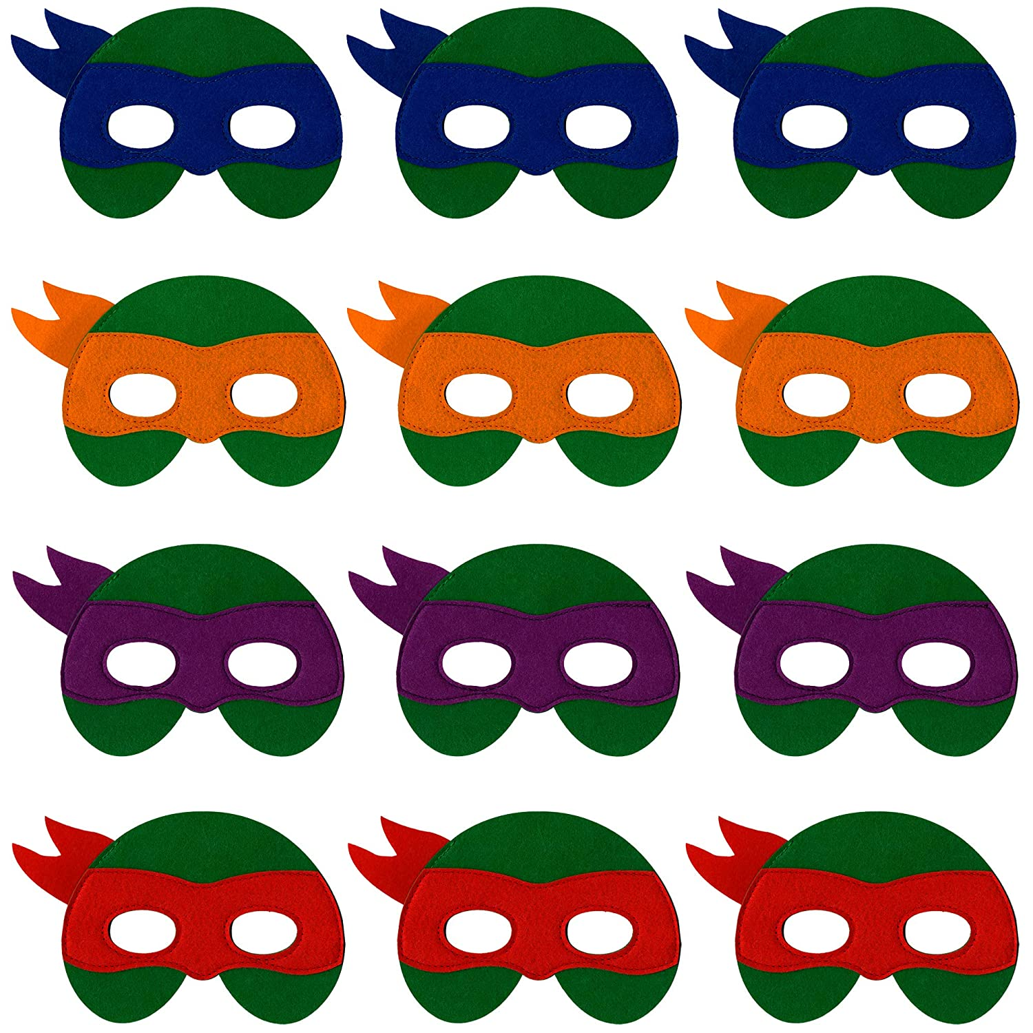 Ninja Turtle Masks for Kids 12 Felt Toy Masks Best Birthday Party Ninja Turtles Supplies Favors for Goodie Bag Gifts etc
