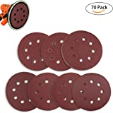 Sanding Discs 70 Pcs 8 Holes 5 Inch Sandpaper Circular Dustless Hook and Loop 60/80/120/180/240/320/400 Grit Ninonly Assortment for Random Orbital Sander