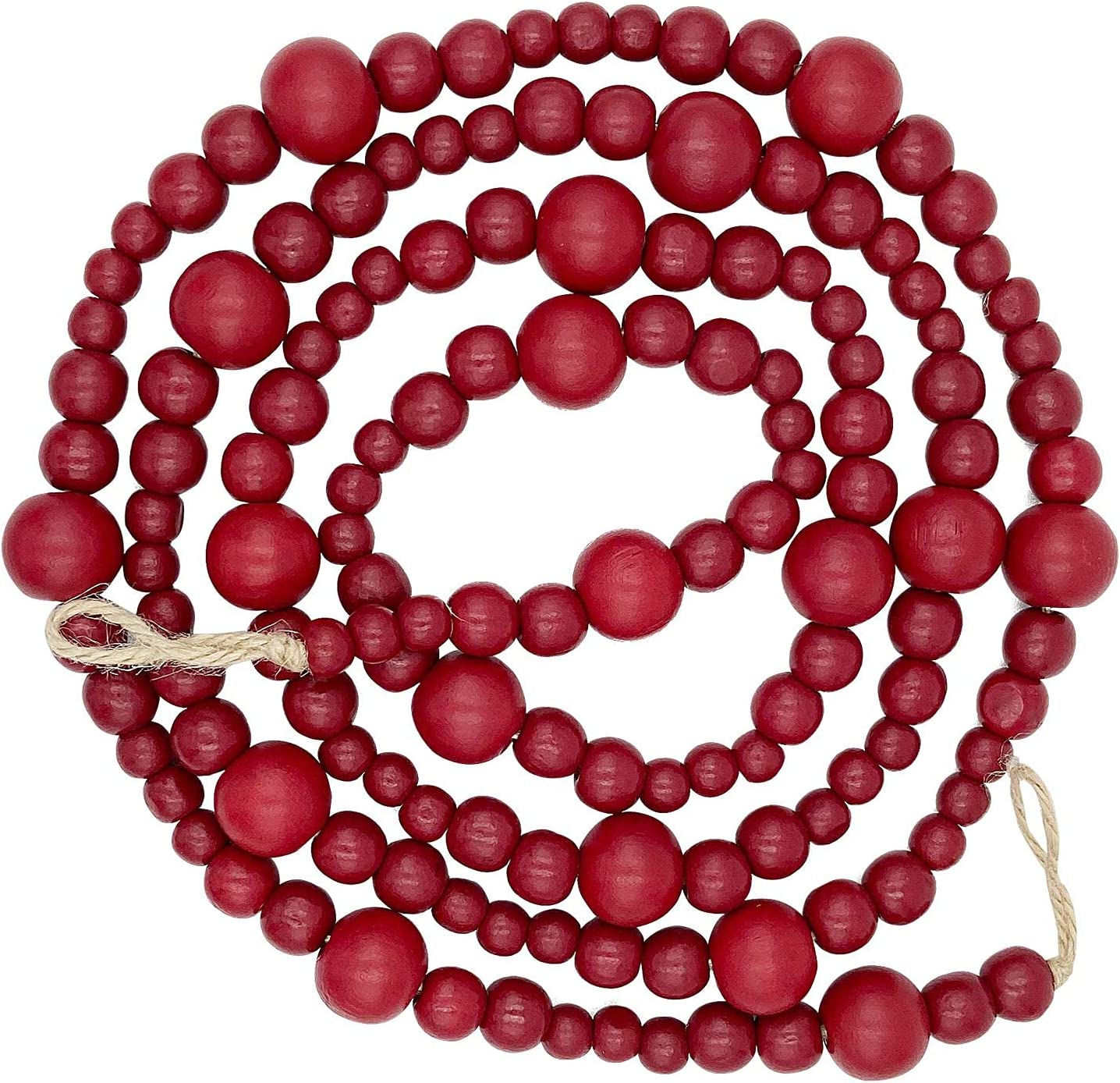 MyLilian Farmhouse Beads 7ft Wood Bead Garland with Christmas TreeHoliday Decorations Rustic Country Decor Prayer Boho Beads Big Wall Hanging Decor (Red)