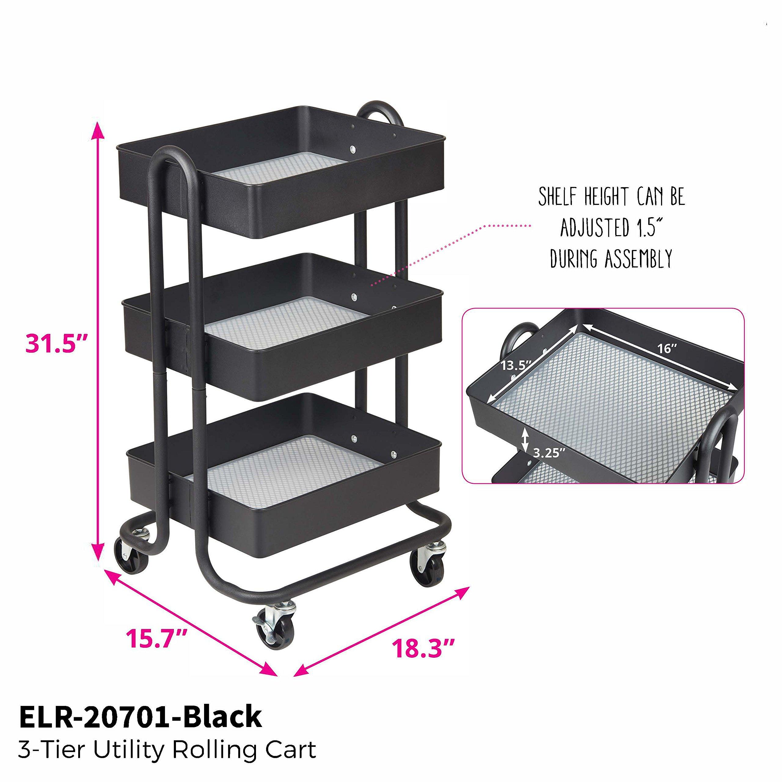 ECR4Kids 3-Tier Metal Rolling Utility Cart - Heavy Duty Mobile Storage Organizer, Black by ECR4Kids (Image #4)