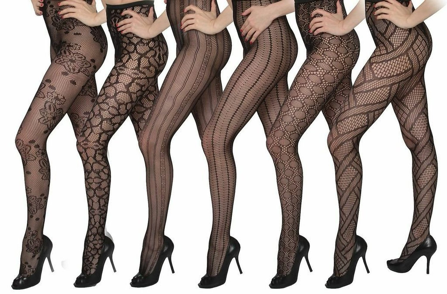 Isadora Paccini Women's 6-Pack Fishnet Lace Pantyhose Tights, Queen, Black 809Q