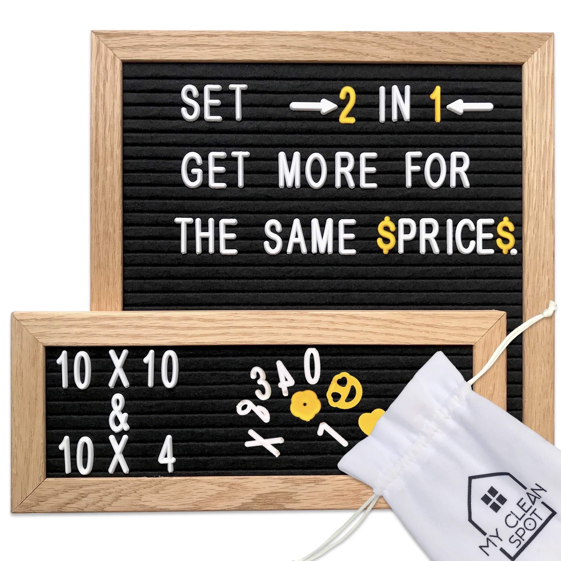 MCS Felt Letter Board Set | 2 Oak Frames- 10x10 + 10 x 4 inch | 680 Changeable Letters, Numbers+Emoji | Organization Accessories - Plastic Storage Organizer, Wood Stand,2 Canvas Bags | Bonus Gift Box