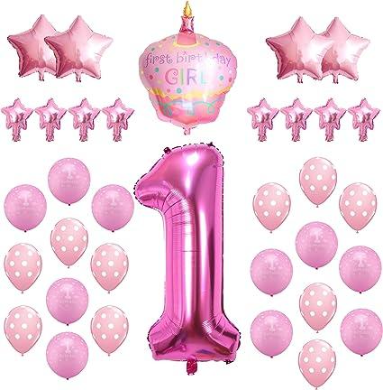 """1ST Globos De Fiesta De Cumpleaños 5-12/"""" Rosa Perlado Helio Calidad 1 años niña"""