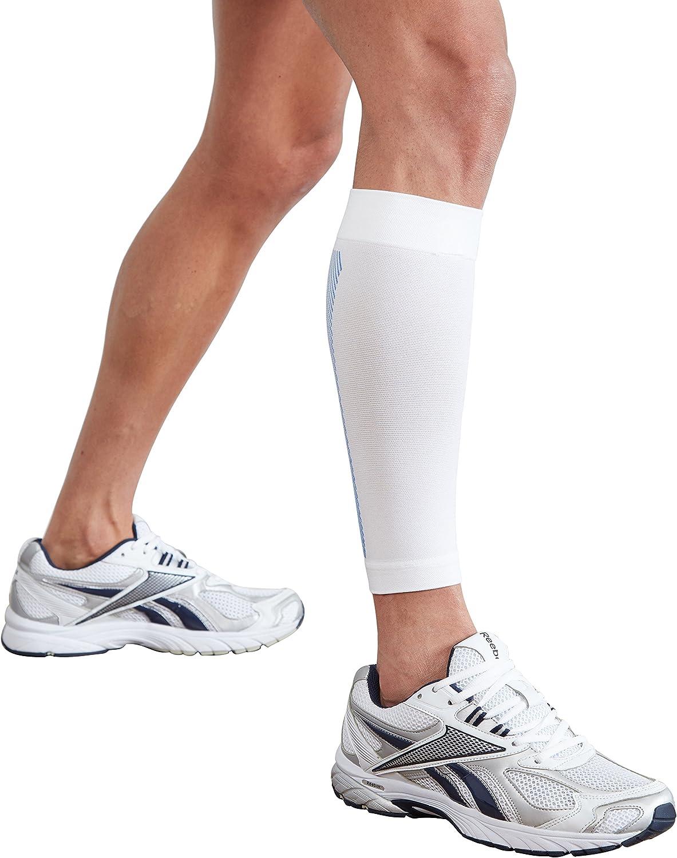 Actesso Órtesis tubular de compresión para pantorrilla. Ideal para lesiones de la pantorrilla y aliviar el dolor. Perfecta para correr, caminar o hacer deporte (Blanco, Pequeña)