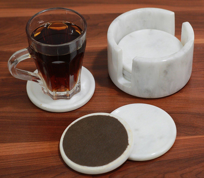 RADICALn Marble Coaster Set Drink Wine Cork Coffee Posavasos redondos conjunto - No de madera y no rústico - No de cerámica - Moderno Stone Coaster Dining ...