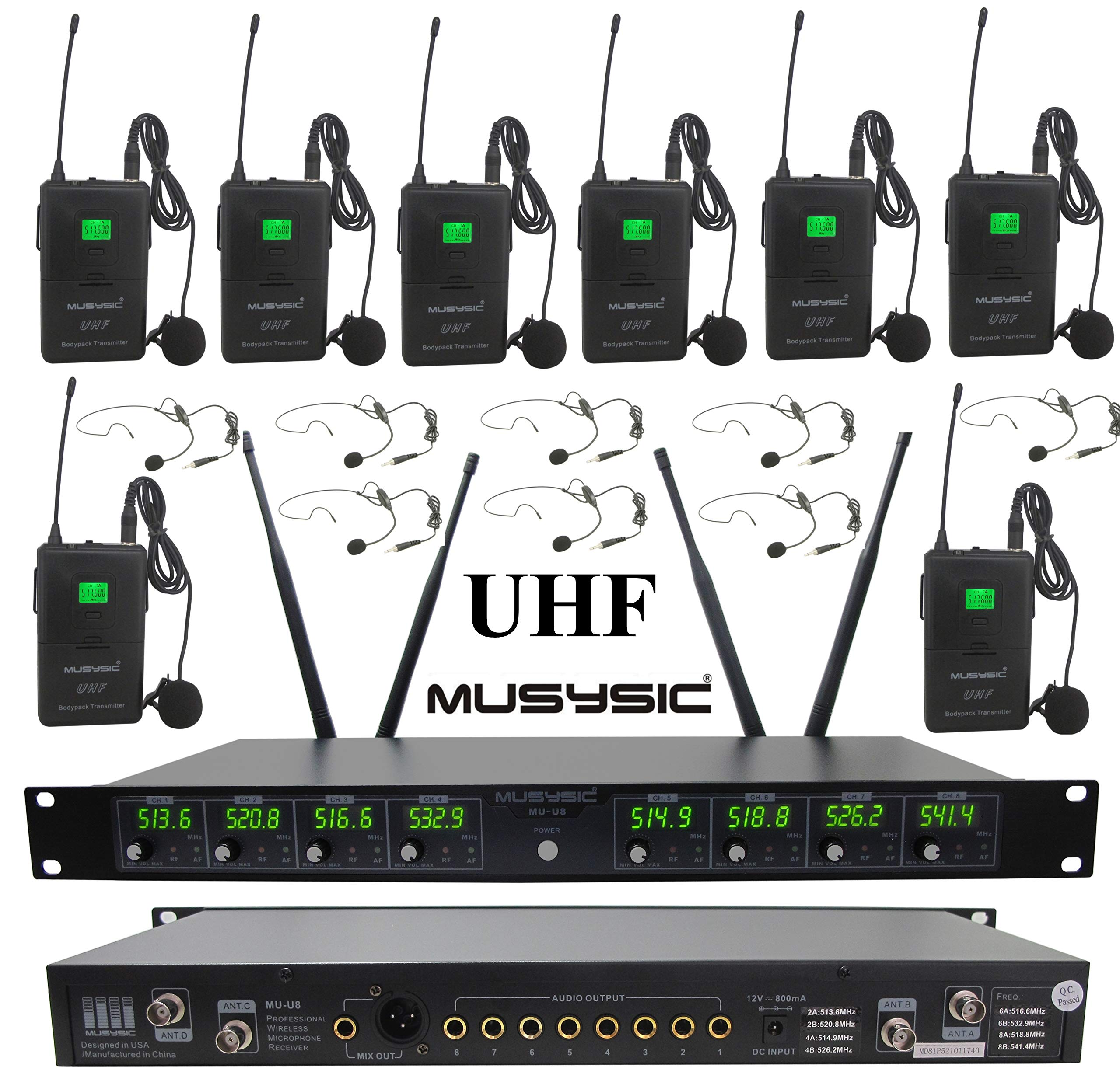 MUSYSIC MU-U8-LL Professional 8-Channels UHF Lapel Lavalier & Headset Wireless Microphone System (FCC Compliance) by MUSYSIC