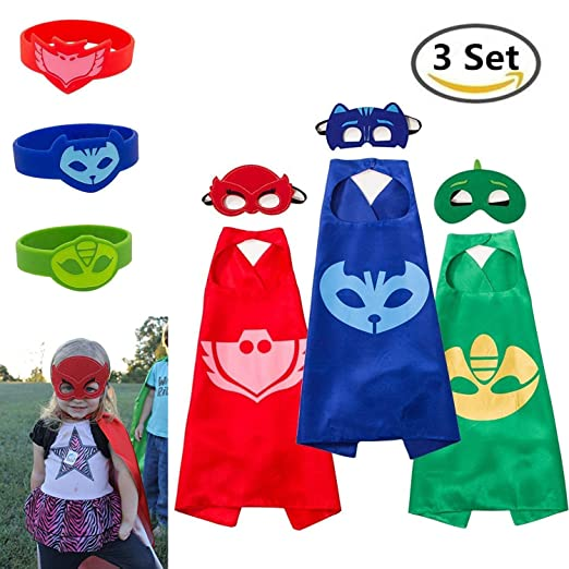 Lanticy Masks Costumes Unisex Kids 3 Set Cape Mask&Bracelets Dressing up Cloaks