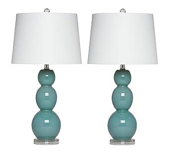 Virtue Home Bellacina Modern Teal Glass Table Lamp Set Of 2 27 X