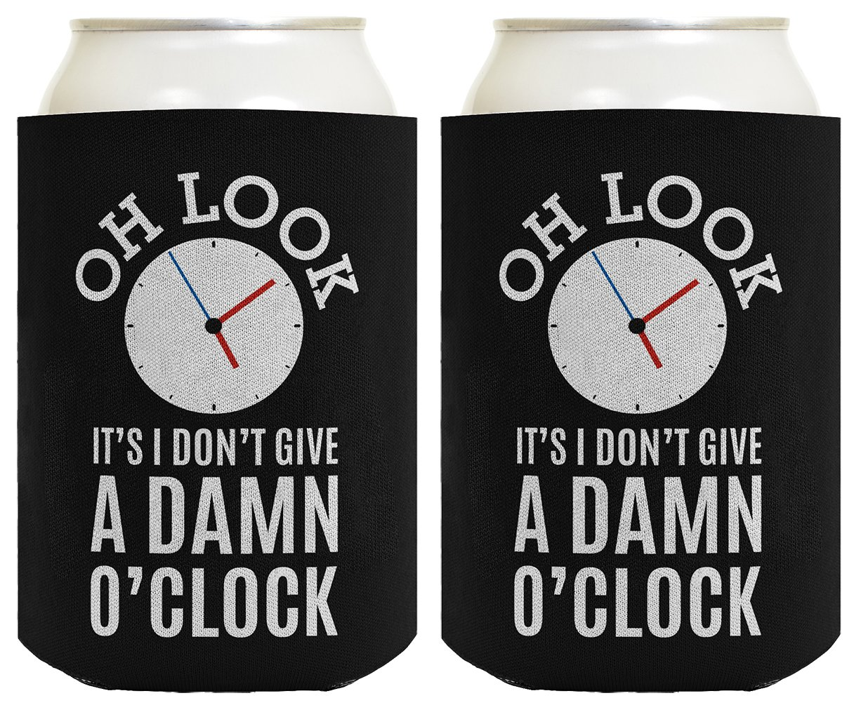 Funny Retirement Gifts for Men Oh Look It's I Don't Give a Damn O'Clock Retirement Gifts for Coworker Gag Gifts Retired Coworker 2 Pack Can Coolie Drink Coolers Coolies Black