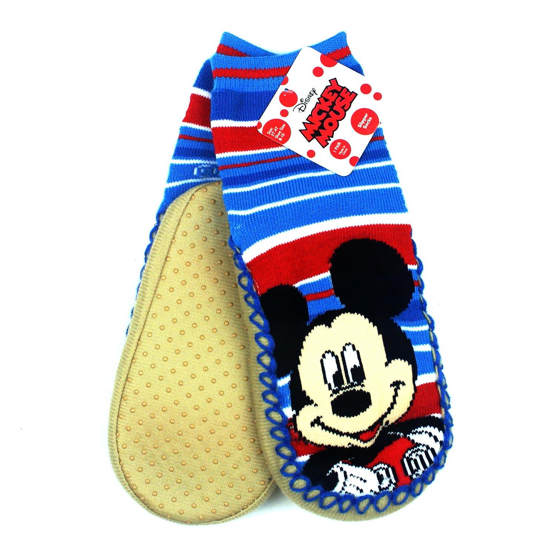 High Point Kids Boys Girls Licensed Soft Plush Slipper Baba Muck Sock W Grip (3T/4T Shoe Size 8-10, Muck Mickey)