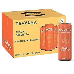 Teavana Craft Peach Iced Natural Green Tea with Lemongrass, Mint, Peach Flavor 12 Fl. Oz. Cans (Pack of 12)