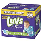 Luvs Ultra Leakguards Disposable Baby Diapers, Size 2, 228 Count, ONE MONTH SUPPLY (Packaging May Vary)