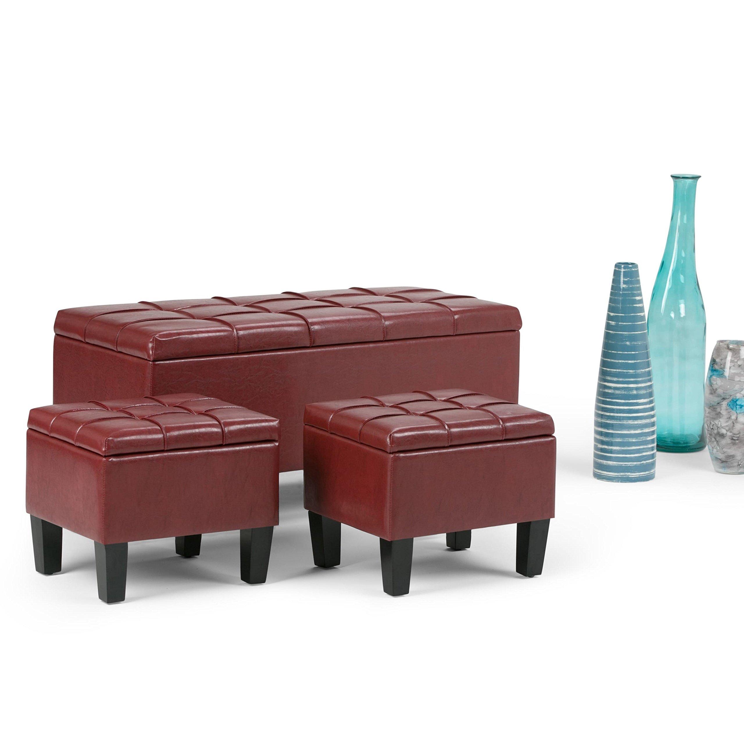 WyndenHall Lancaster 3-piece Storage Ottoman Set (Set of 3) Red Faux Leather, Wood, Foam