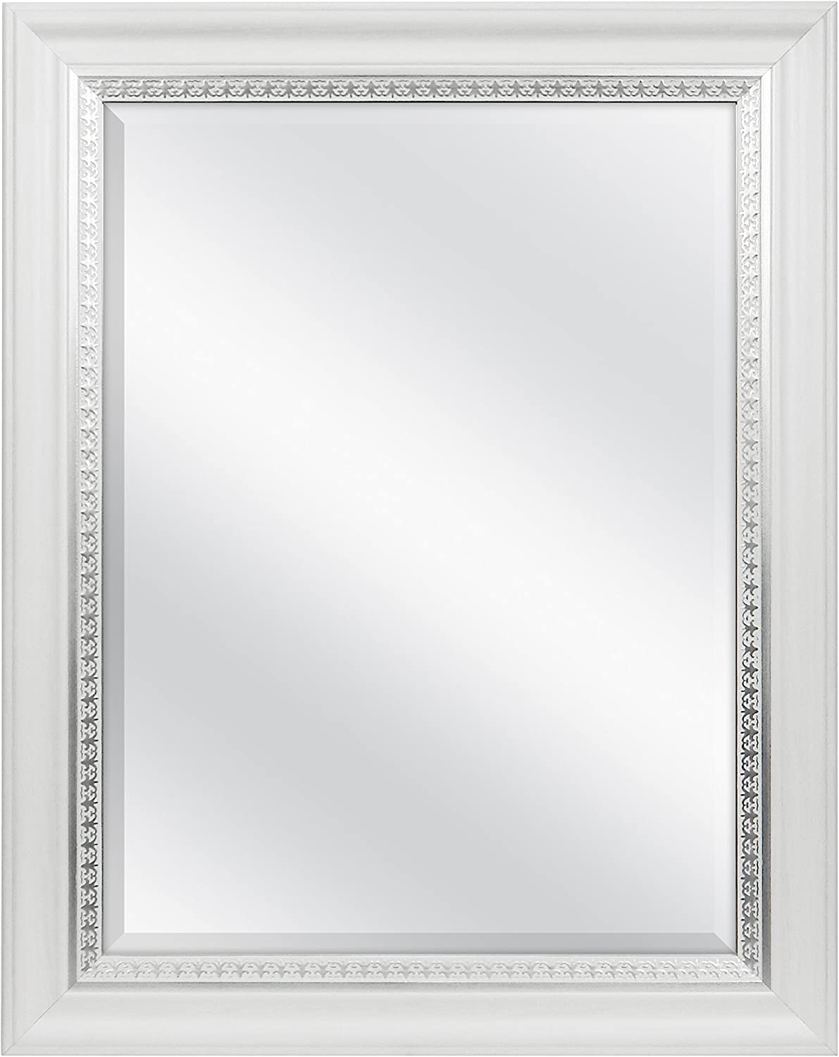 MCS 18x24 Inch Embossed Accent Wall Mirror, 23x29 Inch Overall Size, White Wood Grain with Silver Trim Finish