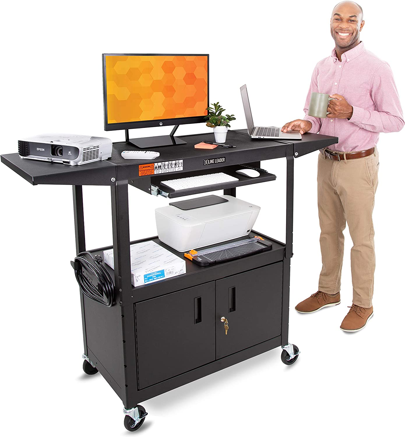 Line Leader AV Cart Large (Keyboard Tray + Cabinet + Drop Leaves) : Office Products
