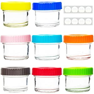 Youngever Glass Baby Food Storage, 4 Ounce Stackable Baby Food Glass Containers with Airtight Lids, Glass Jars with Lids, 8 Assorted Colors (8 Pack)