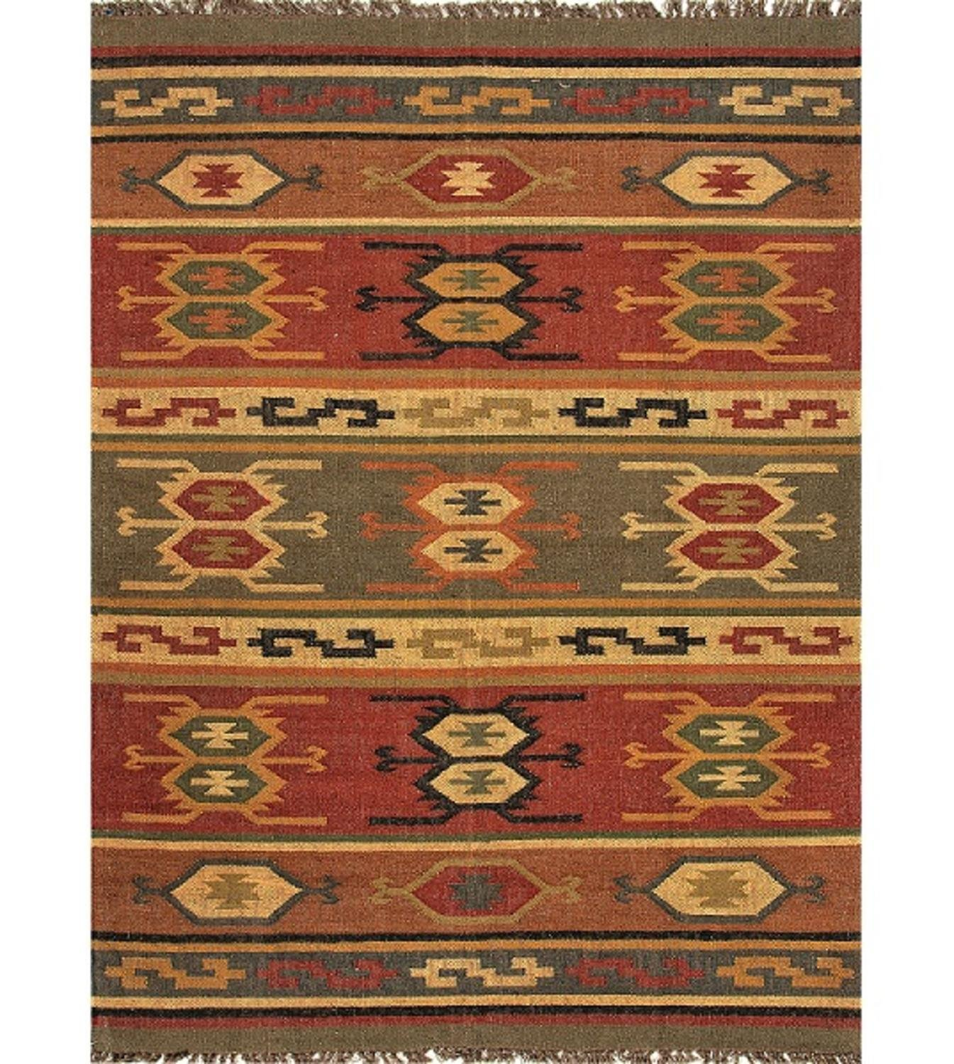Diva At Home 8' x 10' Cardinal Red, Gold & Green Tribal Hand Woven Reversible Wool and Jute Area Throw Rug