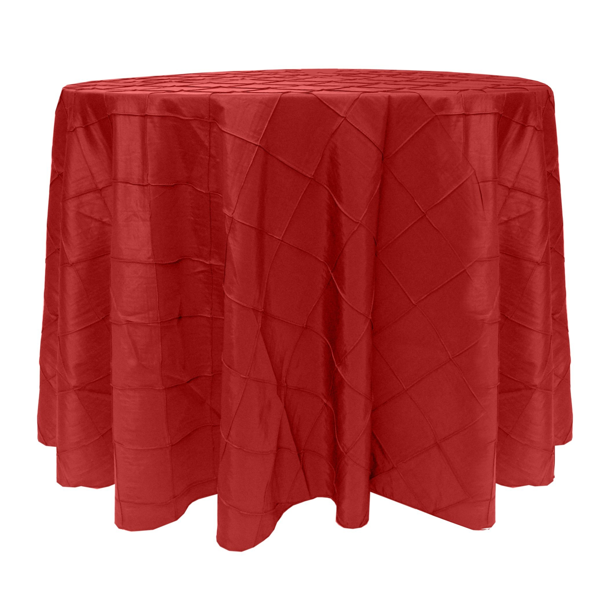 Ultimate Textile Embroidered Pintuck Taffeta 120-Inch Round Tablecloth Holiday Christmas Red