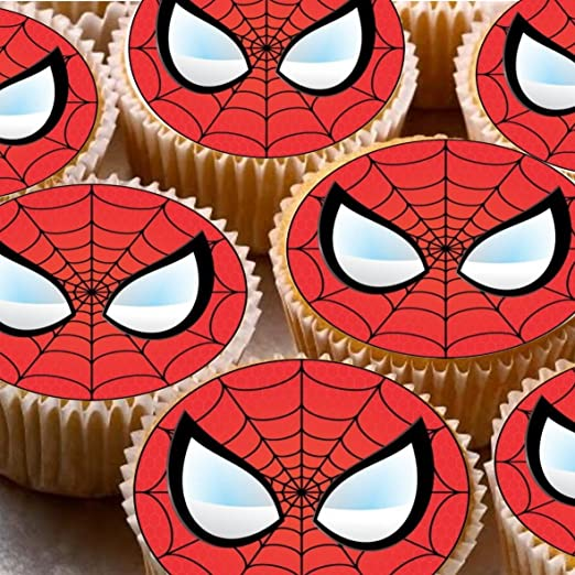 24 Spiderman Face Mask Party Cupcake de hada de tartas 4 cm en la ...