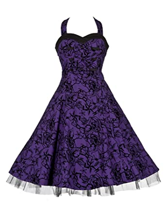 50s Vintage / Alternative Purple Tattoo Flock Party Prom Flared Dress ...