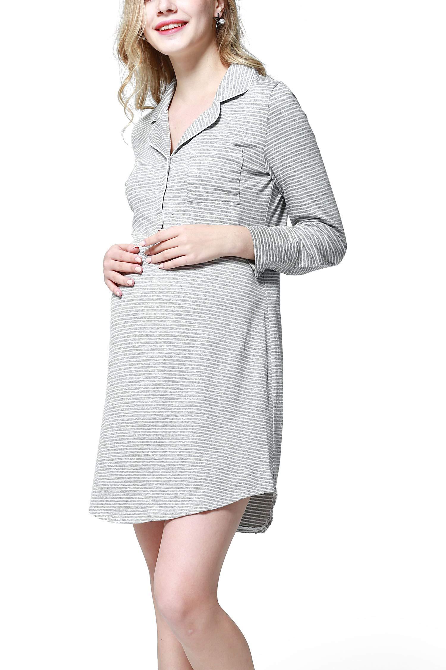 Dance Fairy Molliya Women's Maternity Dress Stripes Nursing Nightgown Breastfeeding,Lapel Collar Pajamas (Gray, M)