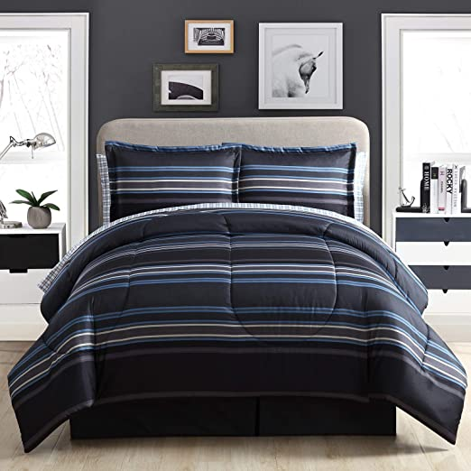 Soho 8-Pieces Hotel Style Bed-in-a-Bag Comforter with Sheet Set Black//Gray