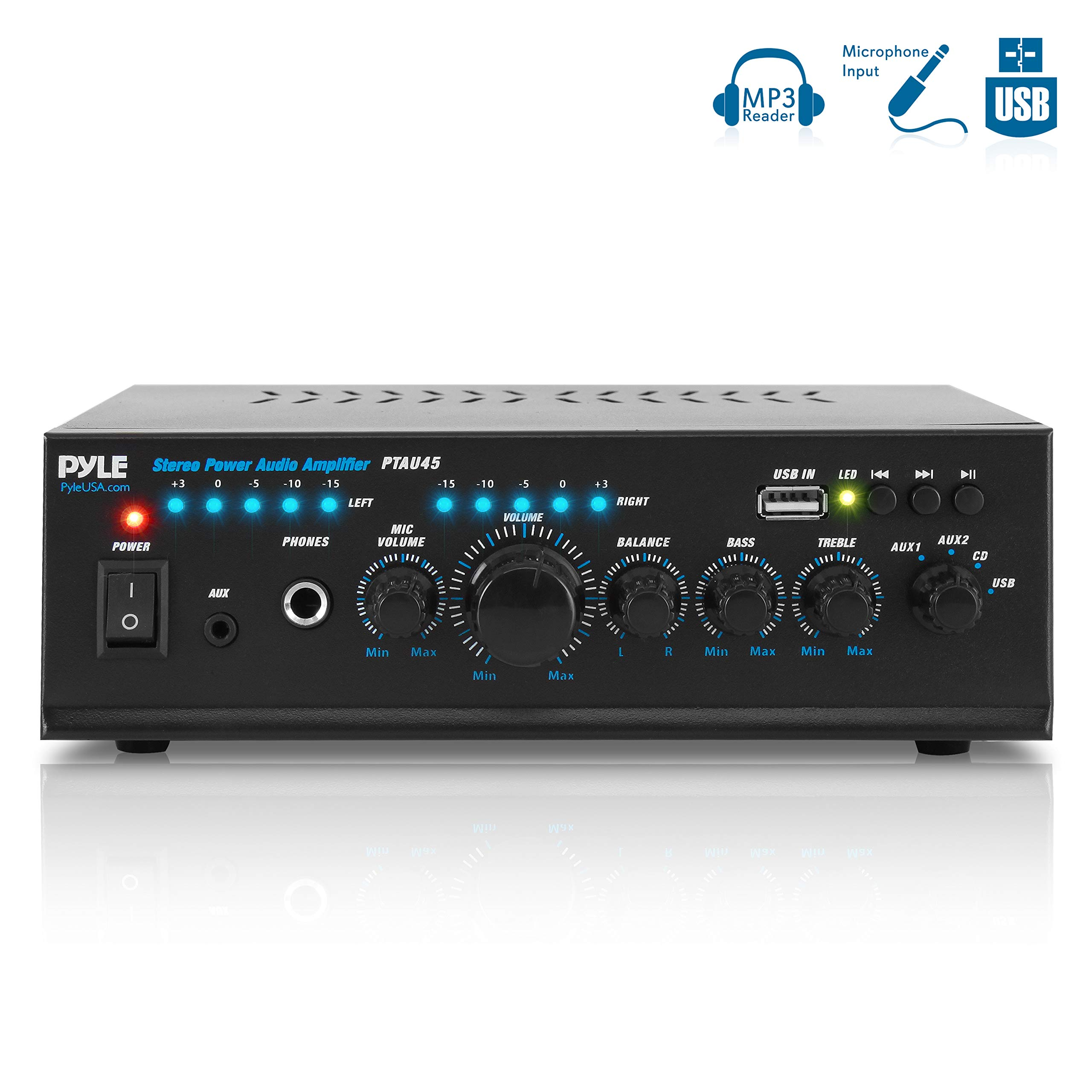 Pyle 2X120 Watt Home Audio Power Amplifier - Portable 2 Channel Surround Sound Stereo Receiver w/ USB in - for Amplified Subwoofer Speaker, CD DVD, MP3, iPhone, Phone, Theater, PA System - PTAU45
