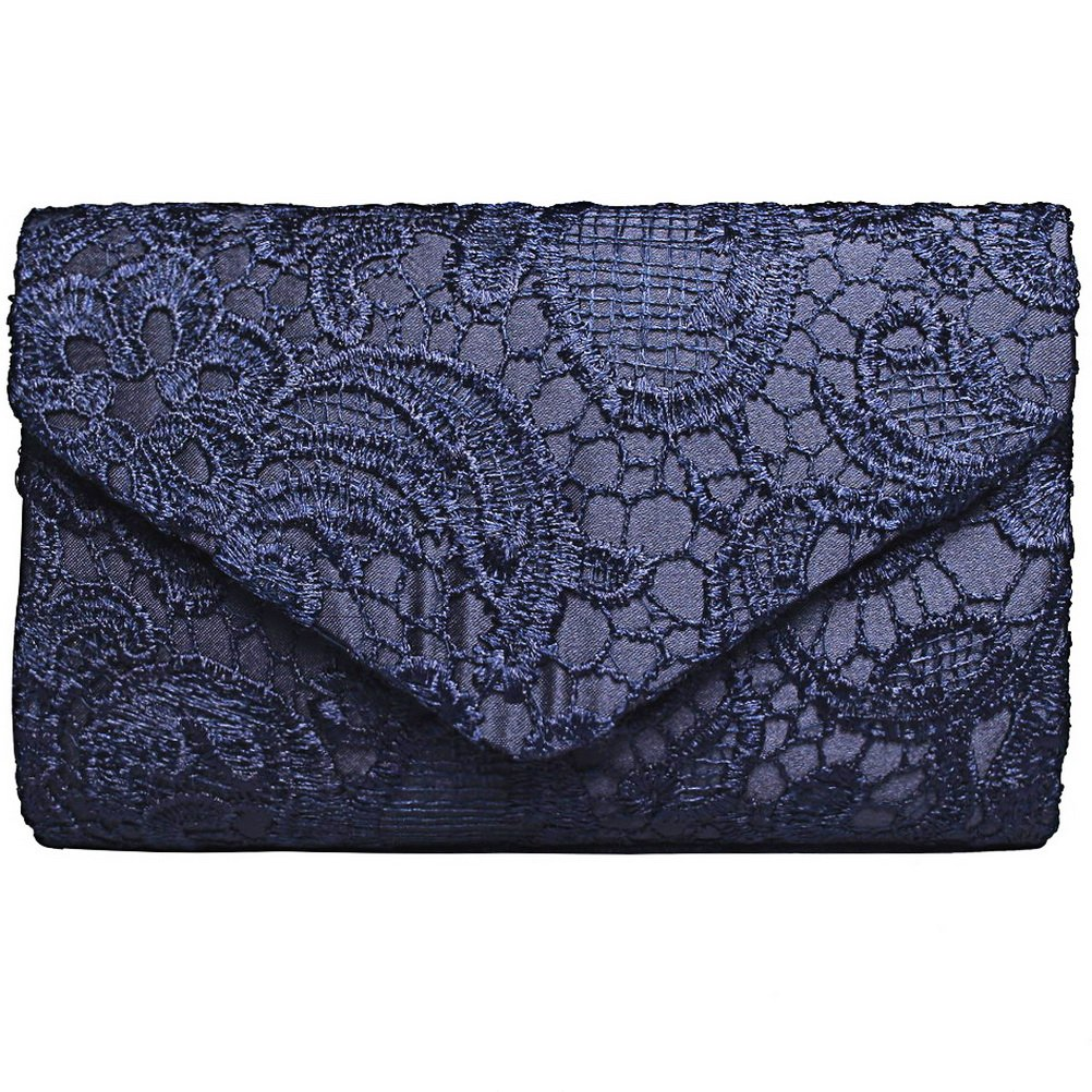 Fashion Road Evening Clutch, Womens Floral Lace Envelope Clutch Purses, Elegant Handbags for Wedding and Party Blue