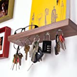 """Rackless - Floating, Wall Mounted Shelf and Magnetic Key Rack, In 12"""" Solid Walnut Wood"""