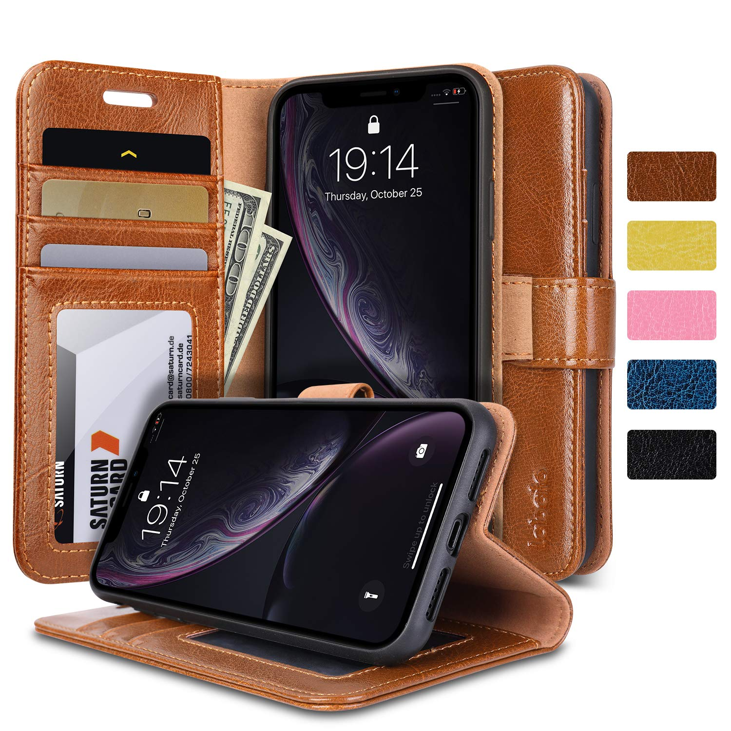 iPhone XR Case, iPhone XR Wallet Case, Labato Genuine Leather Magnetic Flip Case Cover Stand Function with Card Holder Support Wireless Charging/Wireless Car Charger Mount for Apple iPhone XR Brown