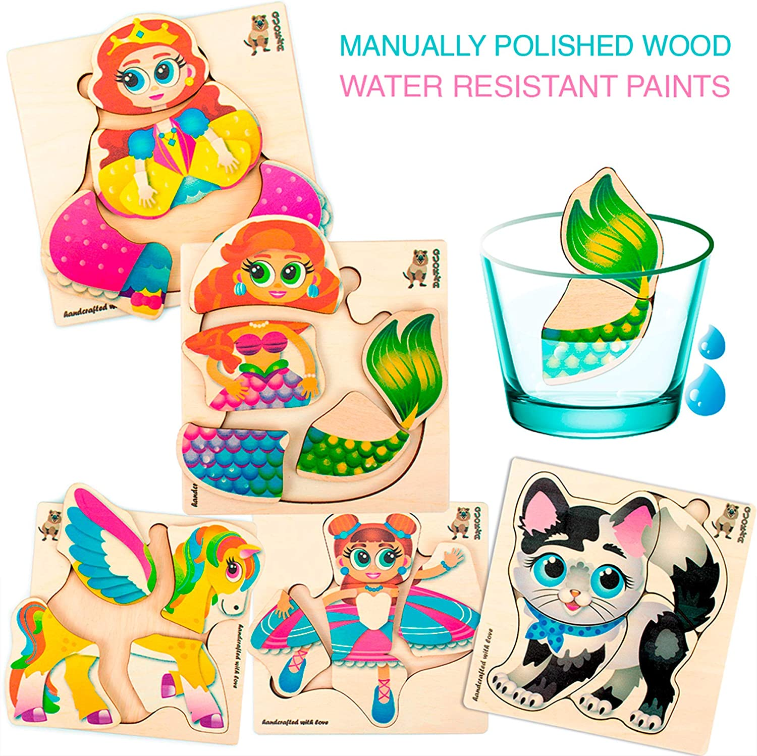 Quokka Wooden Jigsaw Puzzles for Toddler Girls 1 2 3 4 Year Olds Unicorn Marmed Educational Wood Preschool Toys for Kids Ages 2-4 Princess Baby Girl Matching Games 6 Pack Puzzle with Ballerine