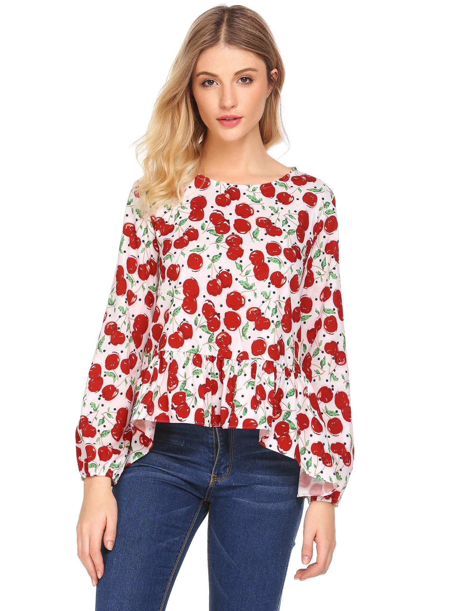 SoTeer Women Casual O-Neck Lantern Sleeve Prints A-Line Asymmetrical Hem Sexy Blouse T-Shirt Tops