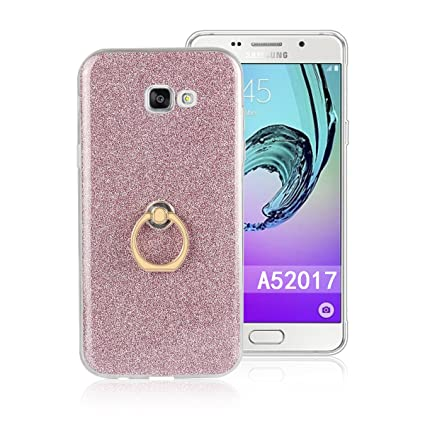 Funluna Galaxy A5 2017 Funda Dedo, Carcasa de Glitter Bling Silicona con 360 Grados Rotating Soporte Anti-Gota Anillo Bumper Case para Samsung Galaxy ...