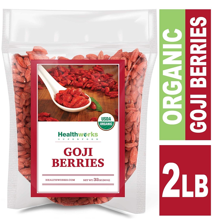 B00BSD9C5M Healthworks Raw Goji Berries (32 Ounces / 2 Pound) | Certified Organic & Sun-Dried | Keto, Vegan & Non-GMO | Baking, Teas & Smoothies | Antioxidant Superfood 81OEKATUU9L