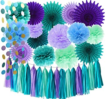under the sea party suppliesmermaid decorations teal purple blue mint tissue pom poms tissue