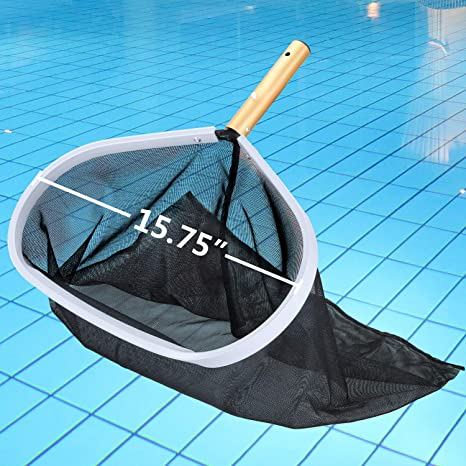 Homga Swimming Pool Skimmer, Pool Leaf Skimmer Rake with Aluminum Frame  Handle for Pool, Spa, Hot Top, Fountain, Pond Removing Leaves & Debris