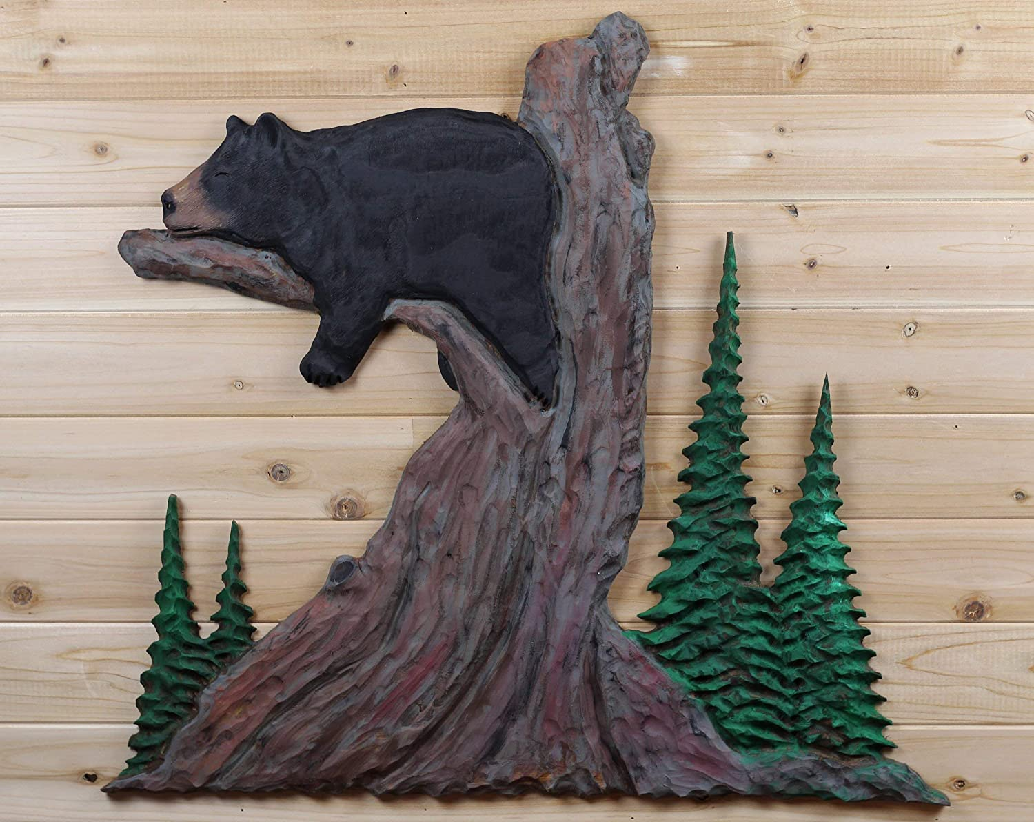 Black Bear Wood Carving Sculpture Cabin Rustic Decor