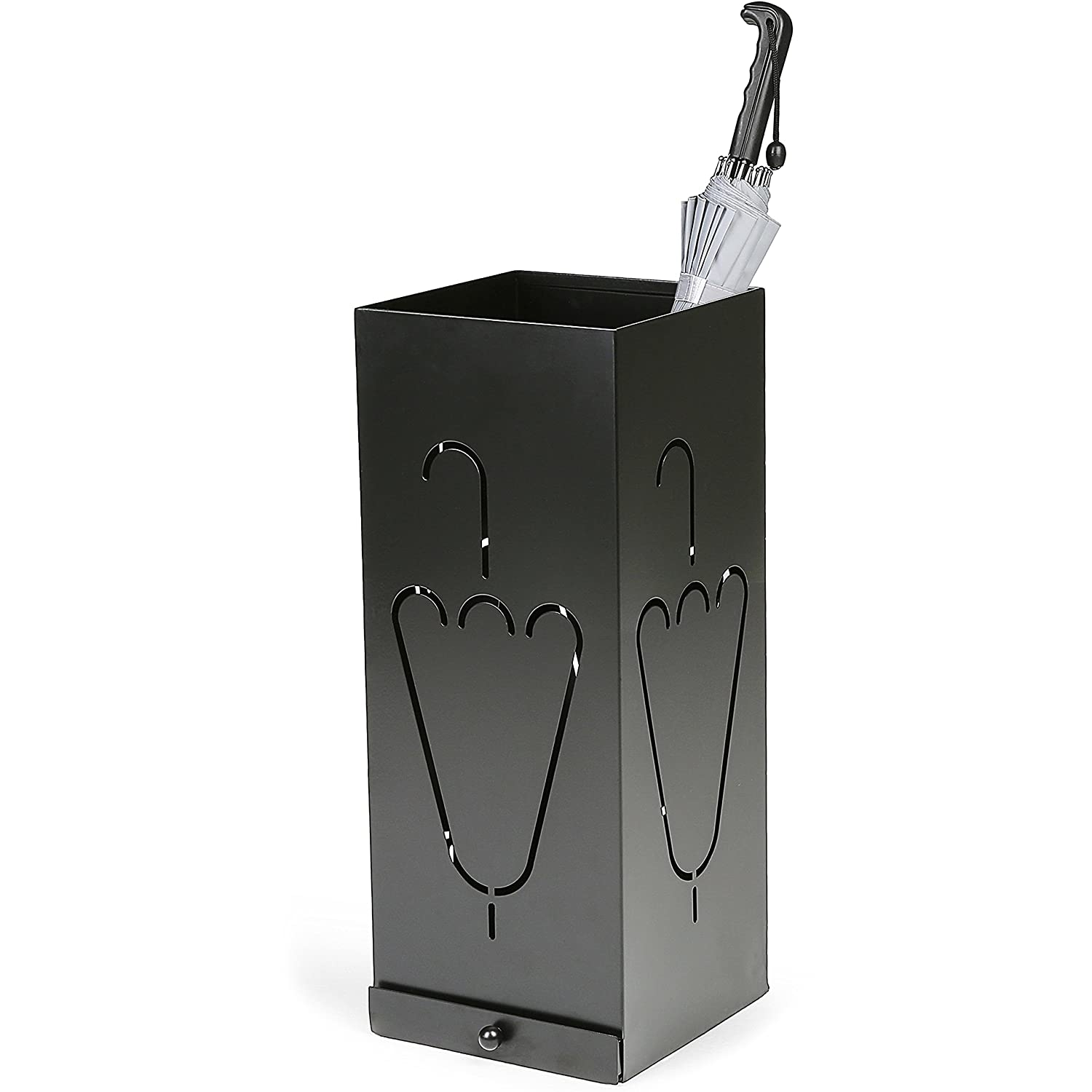 Laser Cut Design Black Metal Umbrella Stand with Removable Drip Tray B06XHBL3JF