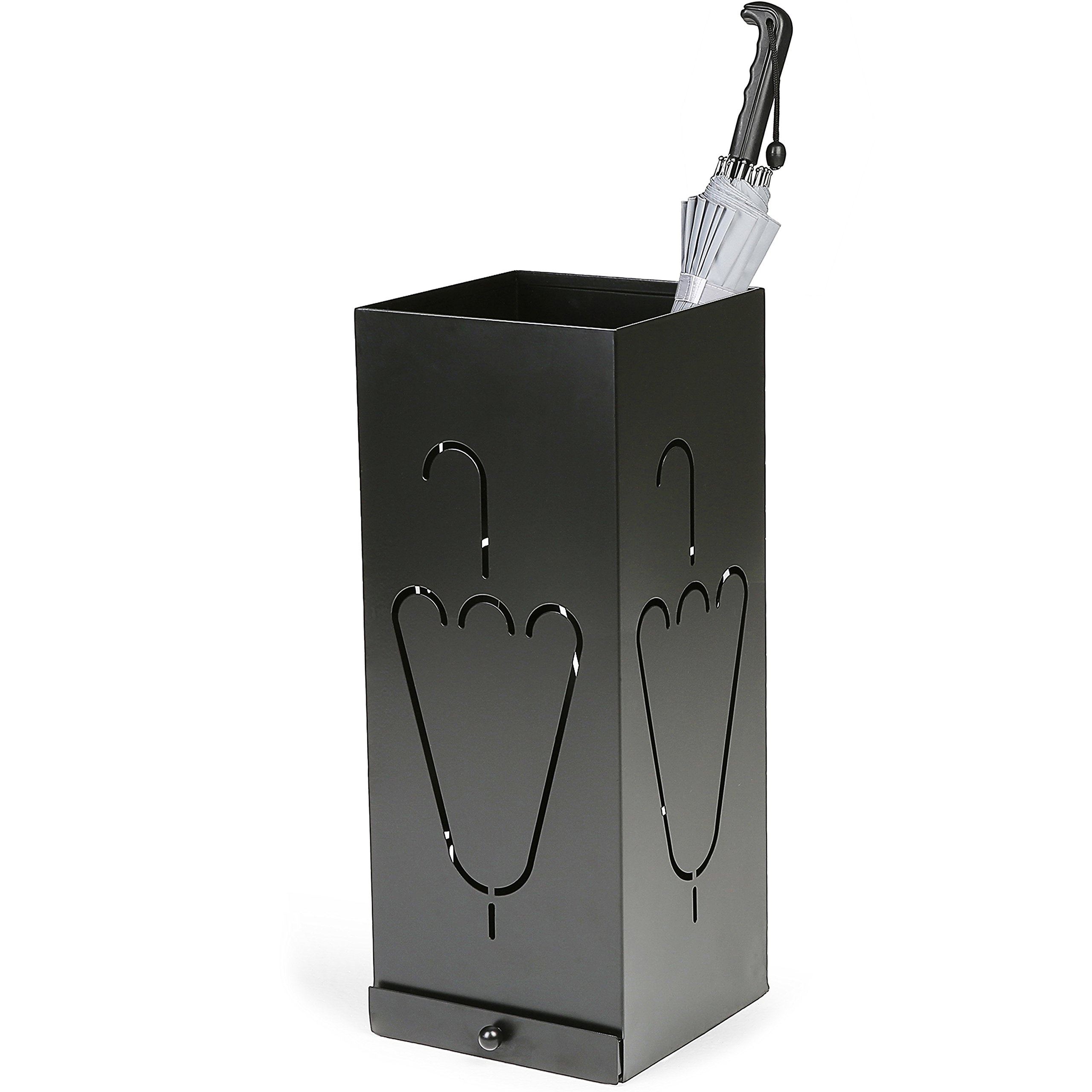 Laser Cut Design Black Metal Umbrella Stand with Removable Drip Tray