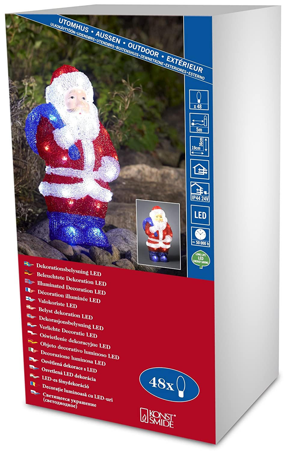 Konstsmide 6153 203 Led Acrylic Decoration Small Standing Santa Outdoor Ip44 48 Ice White Leds Transparent Cable