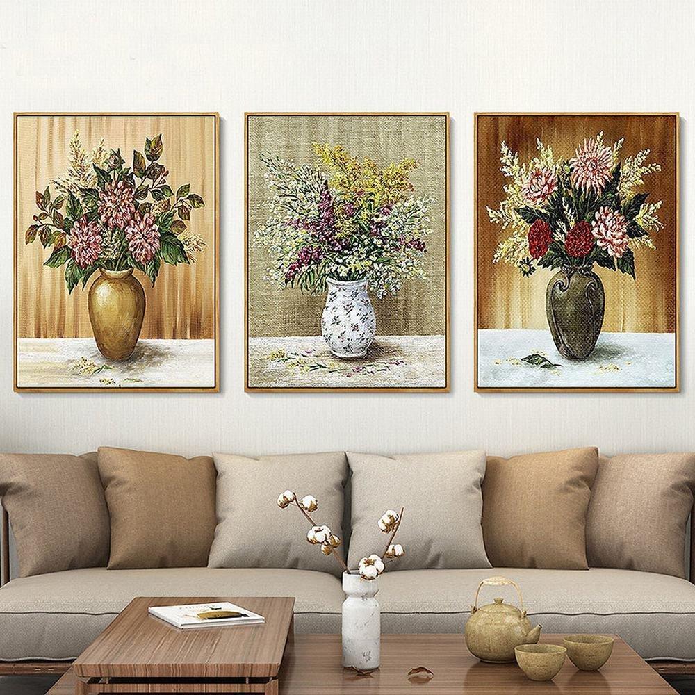 SH Simple Clásico de Color Floral Pintado Fondo Sofá de Triple Fondo ...