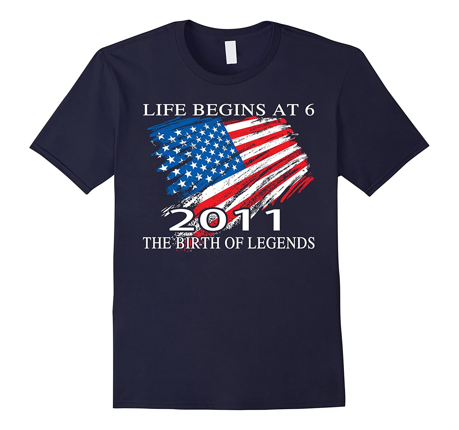 Birthday Gift For 6 Years Old 2011 T Shirt American Flag T-Vaci