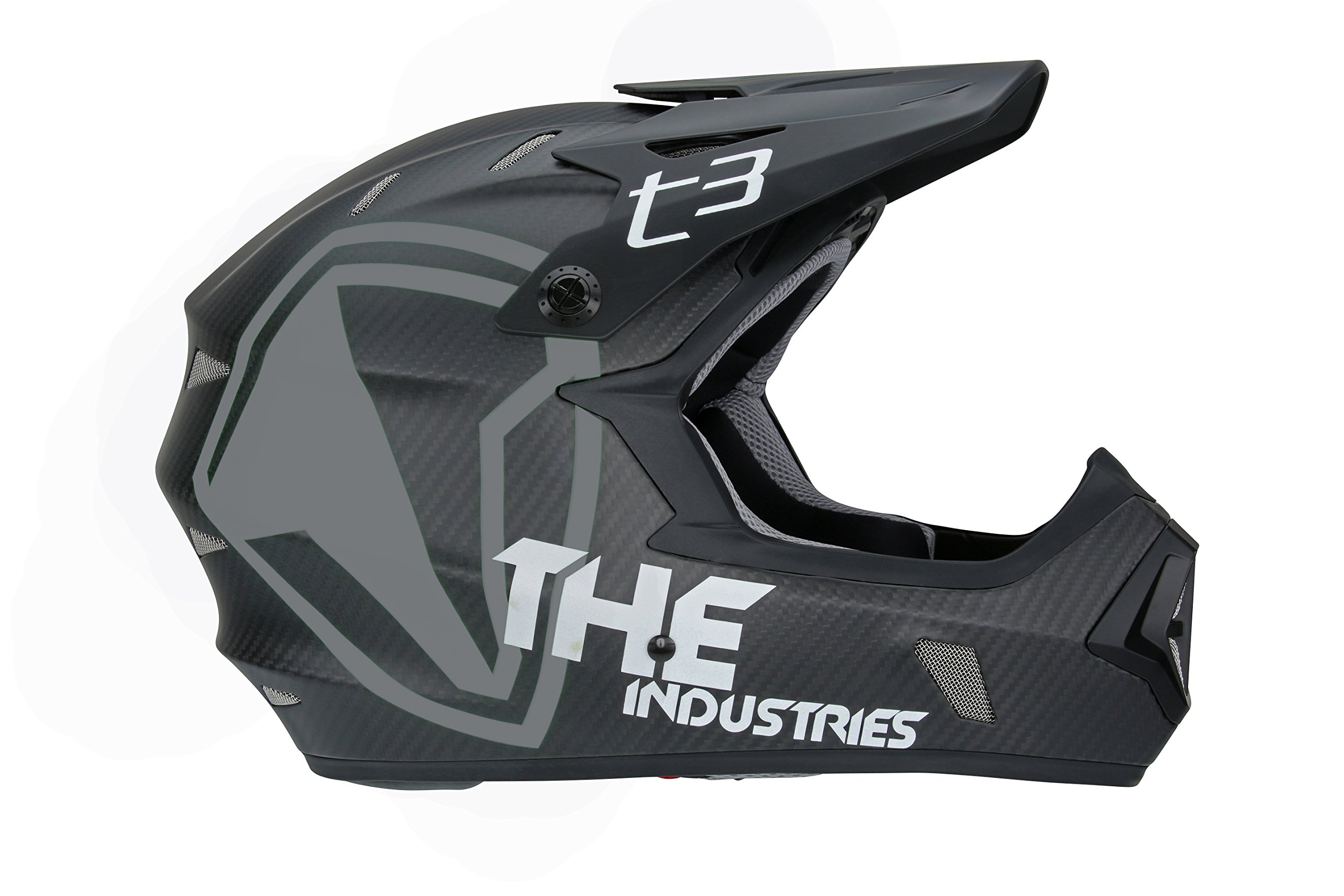 THE Industries Youth T3 Carbon Shield BMX and Mountain Bike Helmet, Black/White, 45-46cm/Small by THE Industries